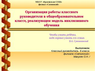 Выполнила: Классный руководитель 8 класса филиала «Сатинский»: Манукян О.Н. /