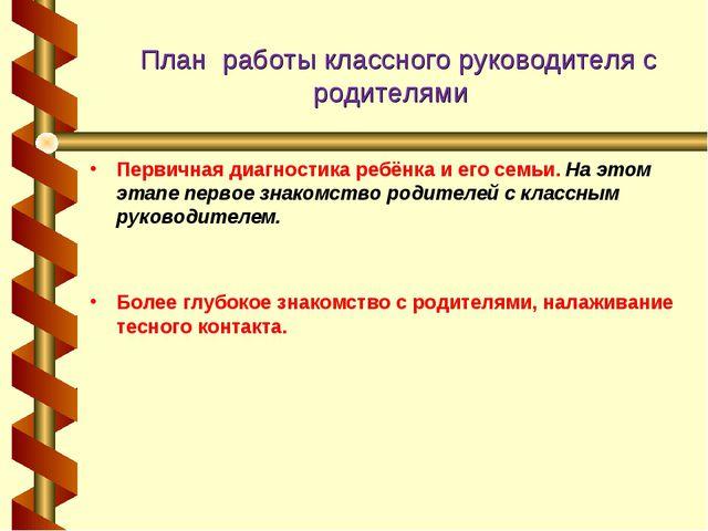 План работыклассного руководителя с родителями  Первичная диагностика ребё...