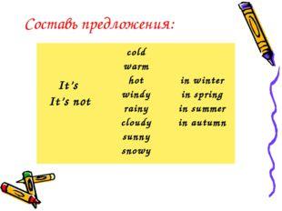 Составь предложения: It's It's not cold warm hot windy rainy cloudy sunny sn
