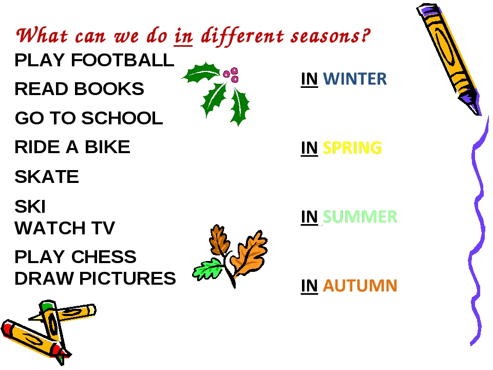 What can we do in different seasons? PLAY FOOTBALL READ BOOKS GO TO SCHOOL RI...