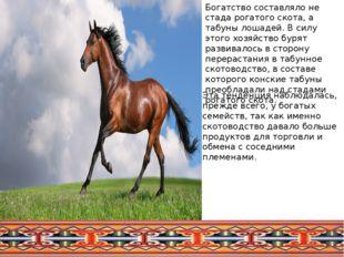 Богатство составляло не стада рогатого скота, а табуны лошадей. В силу этого