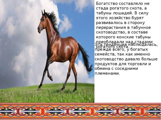 Богатство составляло не стада рогатого скота, а табуны лошадей. В силу этого...