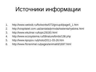 Источники информации http://www.websib.ru/fio/works/072/group4/page5_1.htm ht