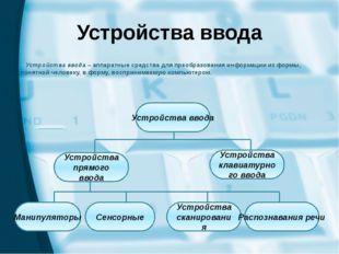 Устройства ввода Устройства ввода – аппаратные средства для преобразования ин