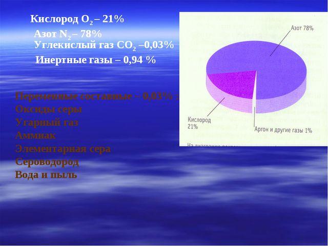 Кислород О2 – 21% Азот N2 – 78% Углекислый газ СО2 –0,03% Инертные газы – 0,9...