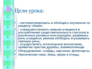 Цели урока: - систематизировать и обобщить изученное по разделу «Зима» - сове