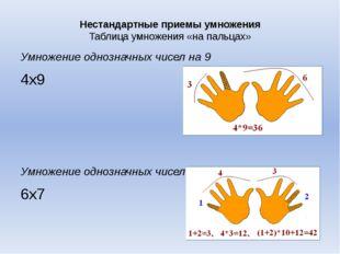 Нестандартные приемы умножения Таблица умножения «на пальцах» Умножение одноз