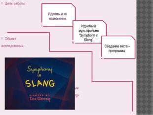 Цель работы: Объект исследования: мультфильм «Symphony in Slang» Идиомы и их