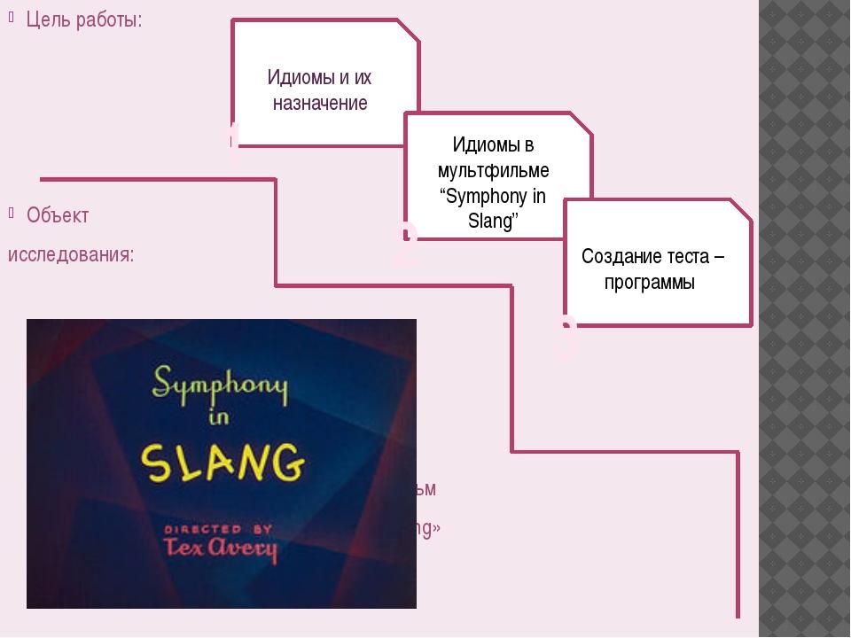 Цель работы: Объект исследования: мультфильм «Symphony in Slang» Идиомы и их...