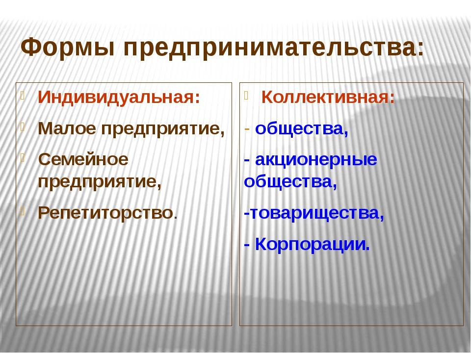 Формы предпринимательства: Индивидуальная: Малое предприятие, Семейное предпр...