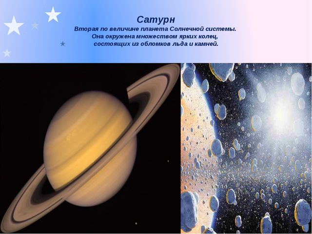 Сатурн Вторая по величине планета Солнечной системы. Она окружена множеством...