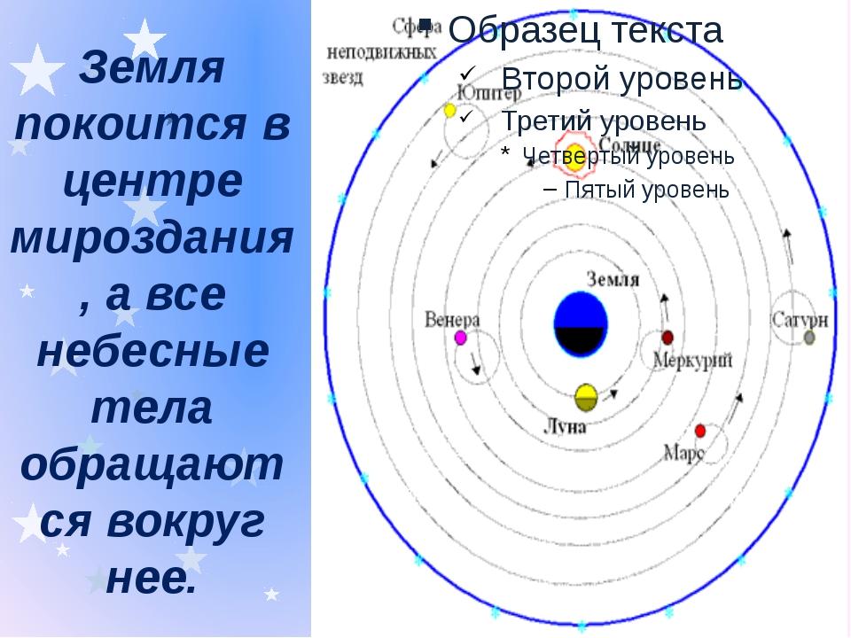 Земля покоится в центре мироздания, а все небесные тела обращаются вокруг нее.