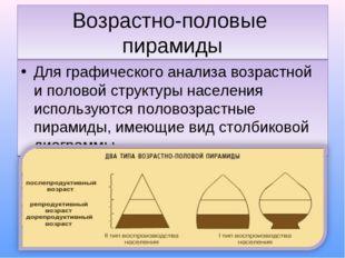 Возрастно-половые пирамиды Для графического анализа возрастной и половой стру