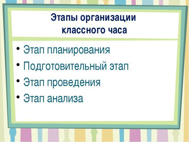Этапы организации классного часа Этап планирования Подготовительный этап Этап...