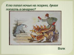 Кто попал ночью на псарню, думая попасть в овчарню? Волк