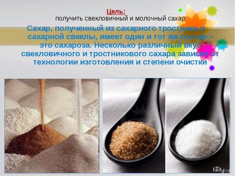 Цель: получить свекловичный и молочный сахар Сахар, полученный из сахарного т...