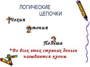 ЛОГИЧЕСКИЕ ЦЕПОЧКИ Чехия Эстония Польша Во всех этих странах деньги называютс