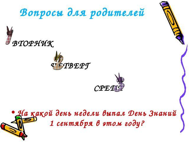Вопросы для родителей ВТОРНИК ЧЕТВЕРГ СРЕДА На какой день недели выпал День З...