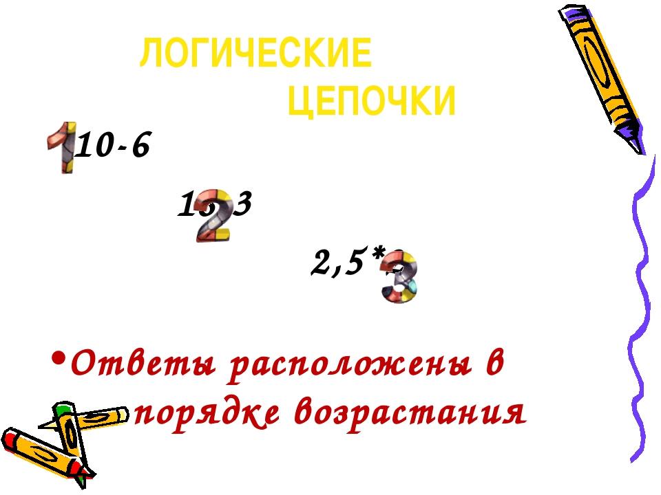 ЛОГИЧЕСКИЕ ЦЕПОЧКИ  10-6 18:3 2,5*2 Ответы расположены в порядке возрастания