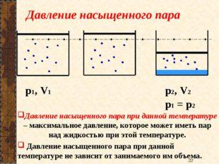 Давление насыщенного пара p1, V1 Давление насыщенного пара при данной темпера