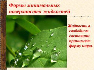 Формы минимальных поверхностей жидкостей Жидкость в свободном состоянии прини