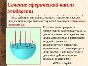 Сечение сферической капли жидкости Если мысленно разрезать сферическую каплю