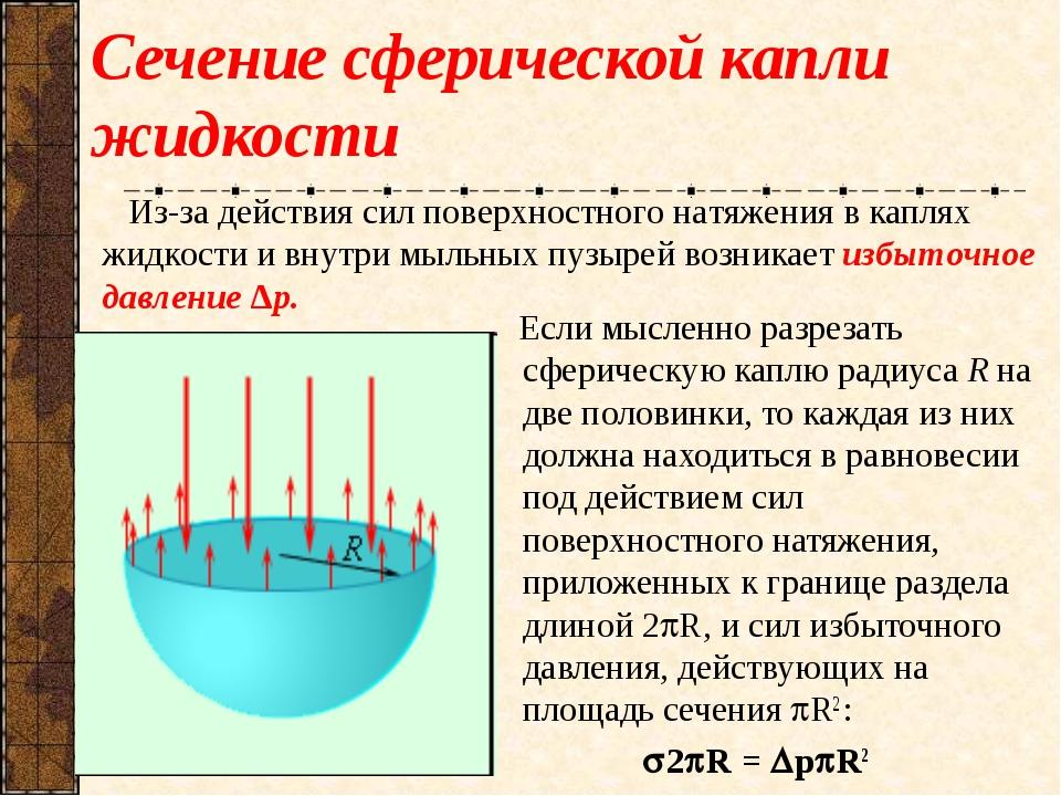 Сечение сферической капли жидкости Если мысленно разрезать сферическую каплю...
