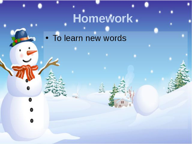 Homework To learn new words