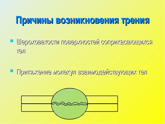 Причины возникновения трения Шероховатости поверхностей соприкасающихся тел П...