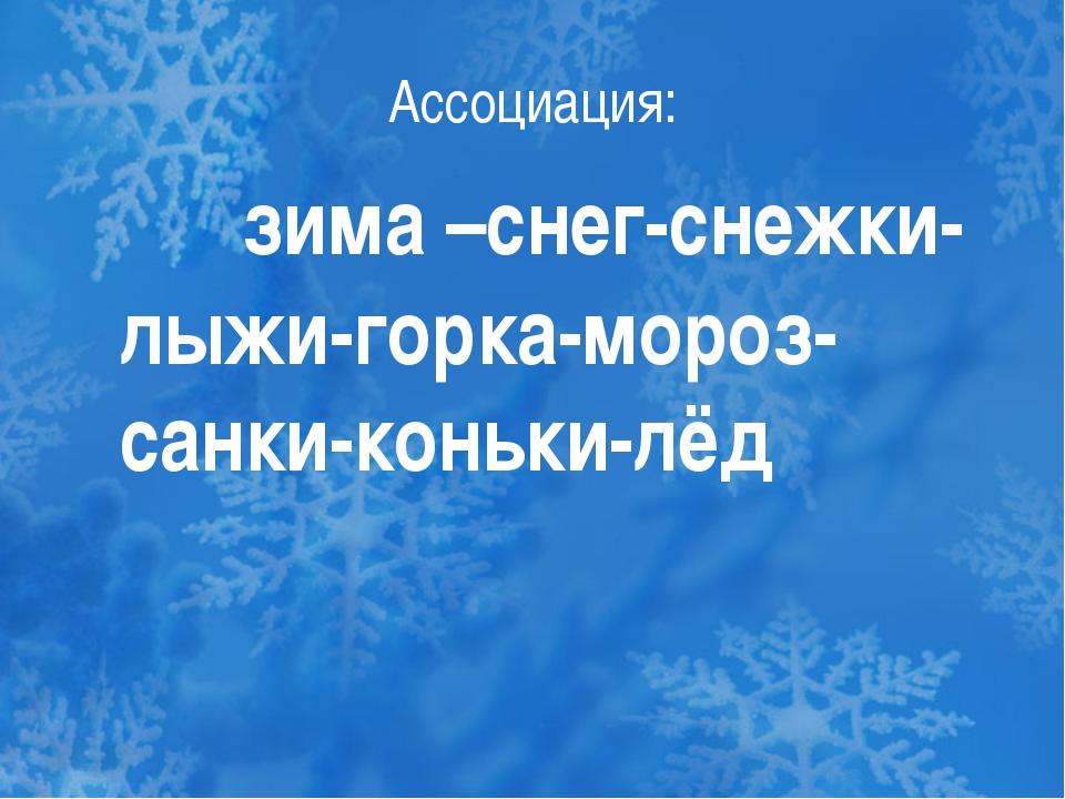 Ассоциация: зима –снег-снежки-лыжи-горка-мороз-санки-коньки-лёд
