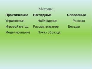 Методы: ПрактическиеНаглядные Словесные УпражненияНаблюдение Рассказ