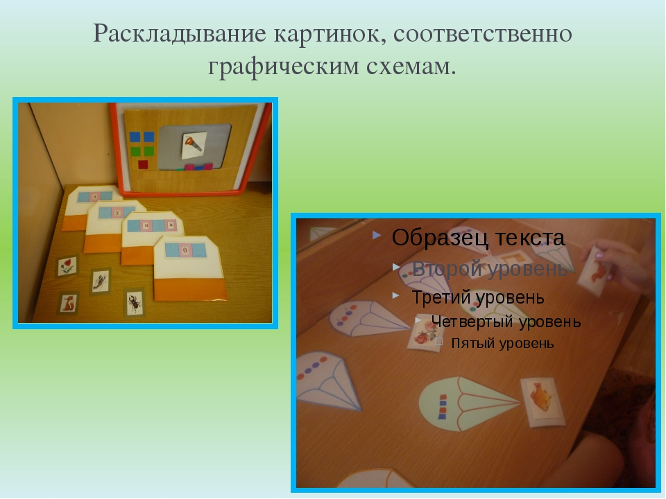 Раскладывание картинок, соответственно графическим схемам.
