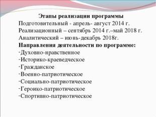 Этапы реализации программы Подготовительный - апрель- август 2014 г. Реализац