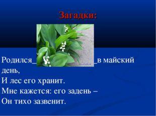 Загадки: Родился_______________в майский день, И лес его хранит. Мне кажется: