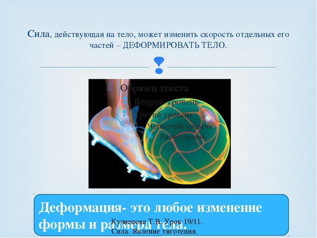 Сила, действующая на тело, может изменить скорость отдельных его частей – ДЕФ...