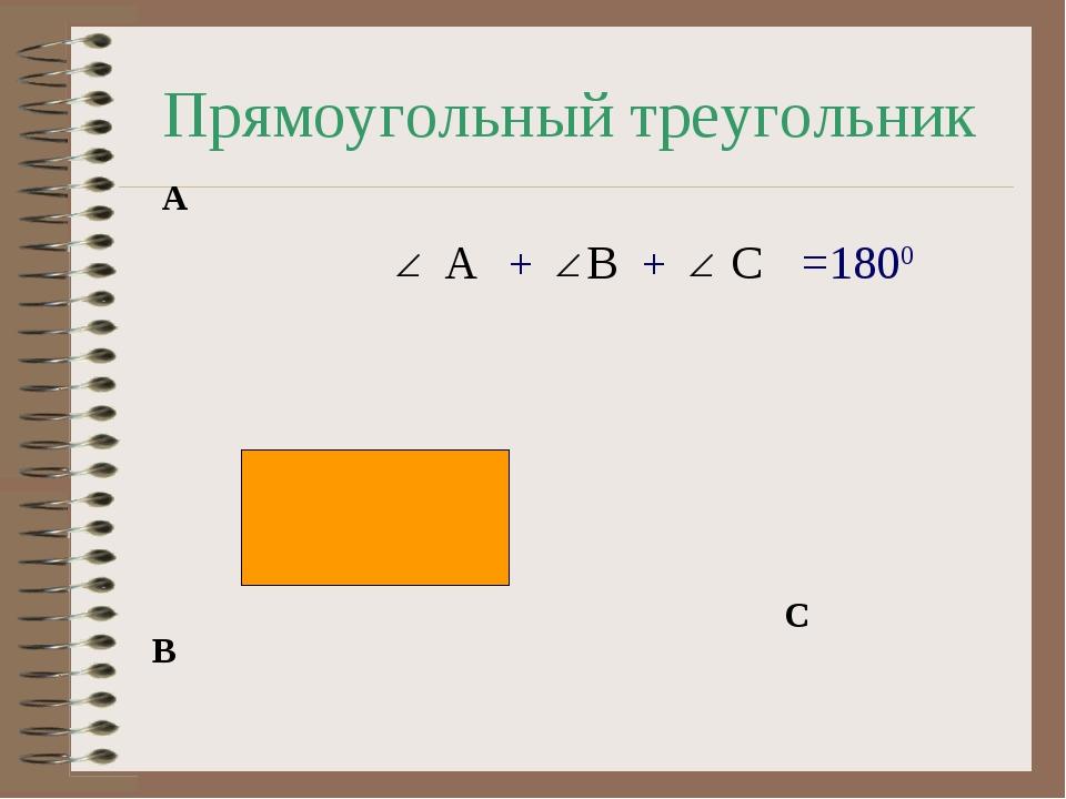 Прямоугольный треугольник A B C =1800 A B C + +