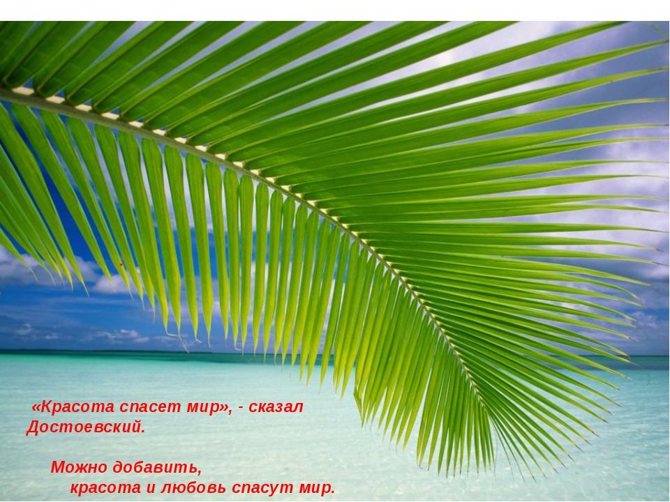 «Красота спасет мир», - сказал Достоевский. Можно добавить, красота и любовь...