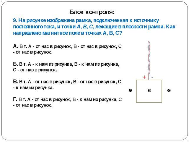 9. На рисунке изображена рамка, подключенная к источнику постоянного тока, и...