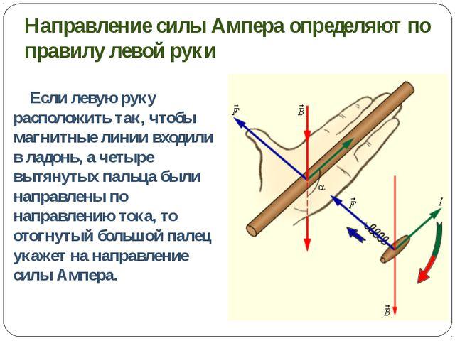 Направление силы Ампера определяют по правилу левой руки Если левую руку расп...