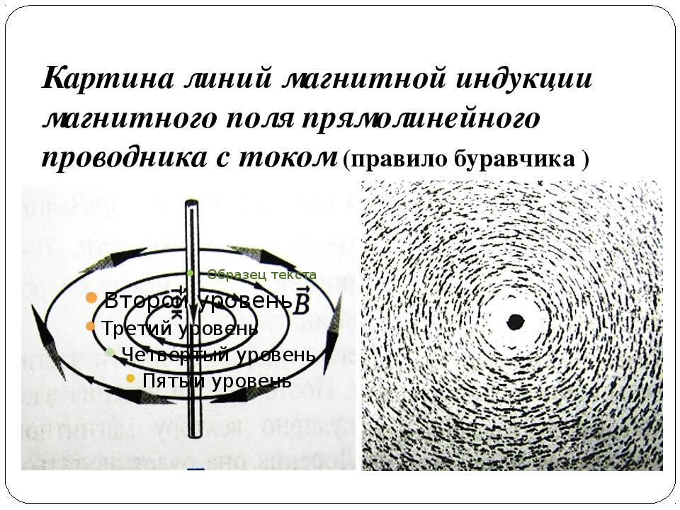 Картина линий магнитной индукции магнитного поля прямолинейного проводника с...