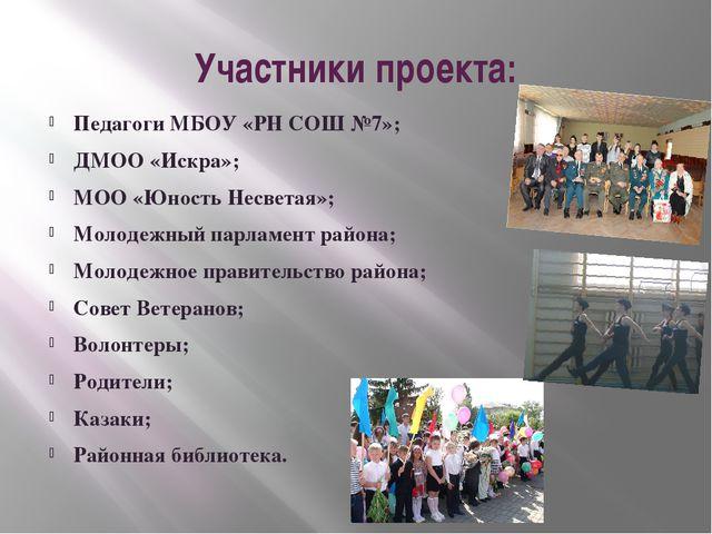 Участники проекта: Педагоги МБОУ «РН СОШ №7»; ДМОО «Искра»; МОО «Юность Несве...