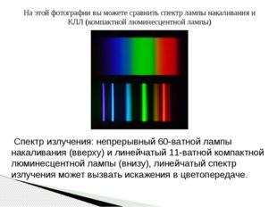 На этой фотографии вы можете сравнить спектр лампы накаливания и КЛЛ (компакт