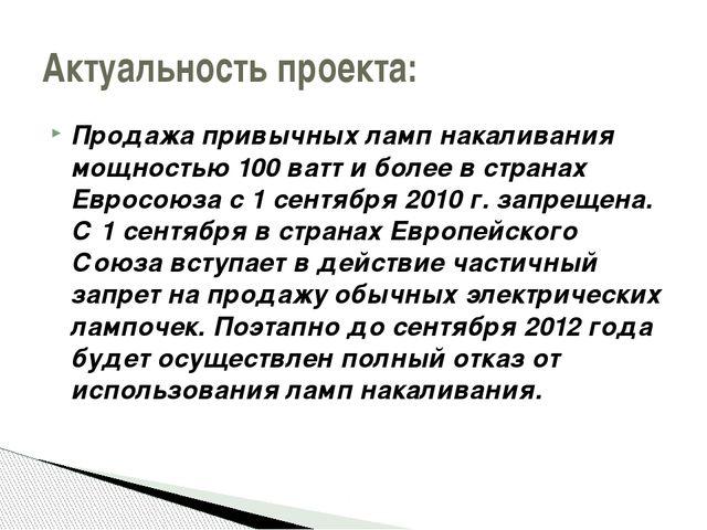 Продажа привычных ламп накаливания мощностью 100 ватт и более в странах Еврос...