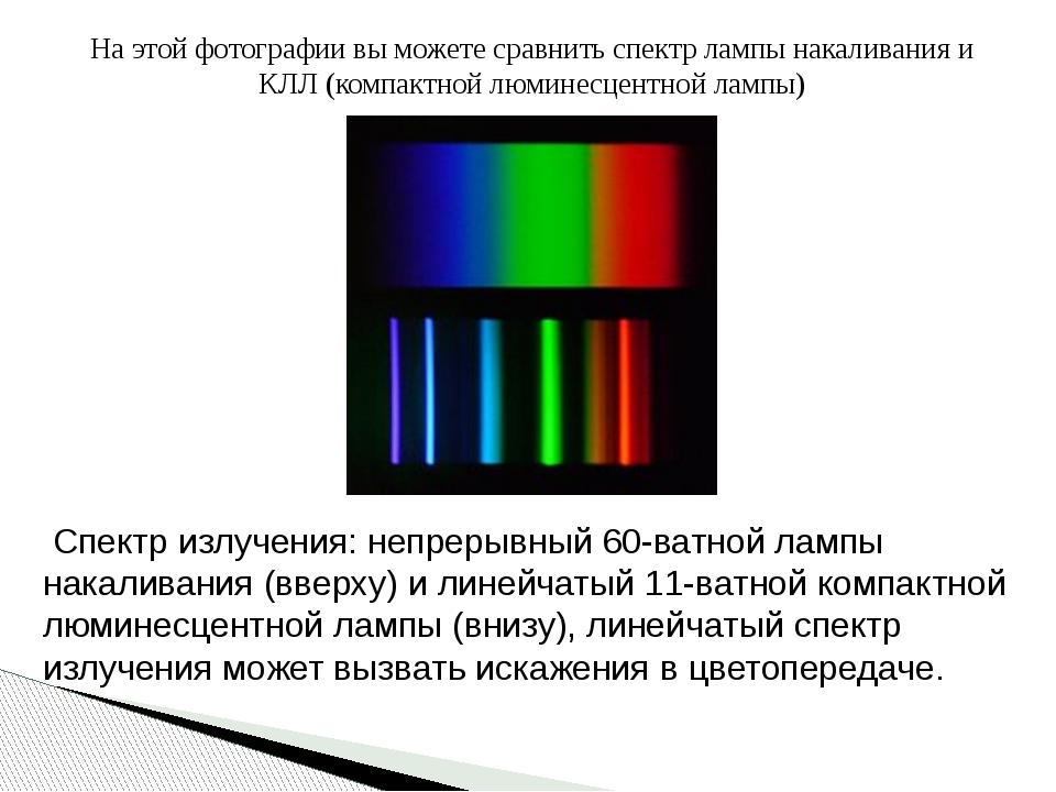 На этой фотографии вы можете сравнить спектр лампы накаливания и КЛЛ (компакт...