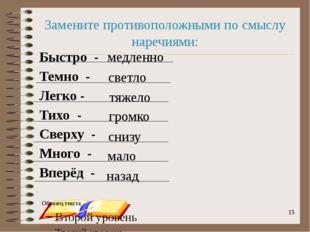onachishich@mail.ru Замените противоположными по смыслу наречиями: Быстро -