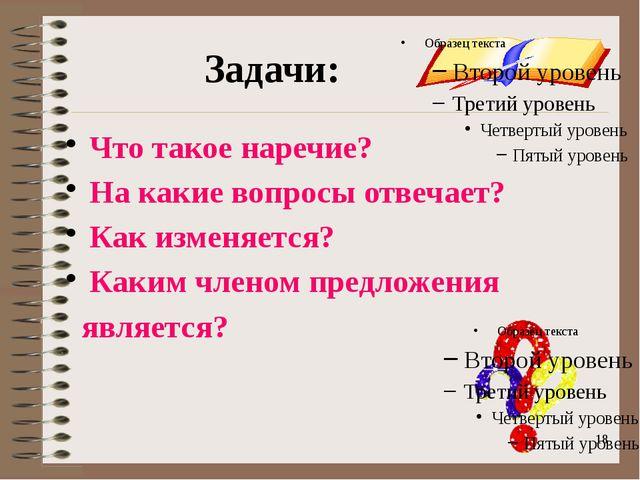onachishich@mail.ru Задачи: Что такое наречие? На какие вопросы отвечает? Как...