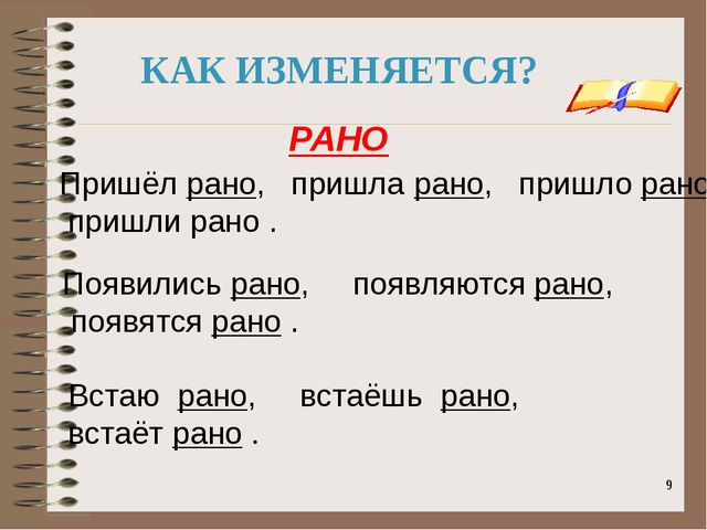 onachishich@mail.ru КАК ИЗМЕНЯЕТСЯ? Пришёл рано, пришла рано, пришло рано, пр...