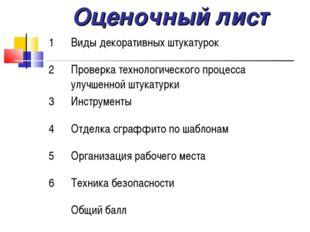 Оценочный лист 1Виды декоративных штукатурок 2Проверка технологического пр