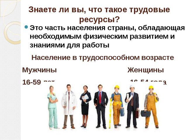 Знаете ли вы, что такое трудовые ресурсы? Это часть населения страны, облада...