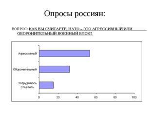 Опросы россиян: ВОПРОС: КАК ВЫ СЧИТАЕТЕ, НАТО – ЭТО АГРЕССИВНЫЙ ИЛИ ОБОРОНИТЕ